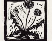 Dandelion linocut print -...