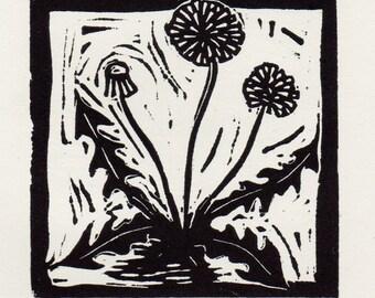 Dandelion linocut print - diente de leon