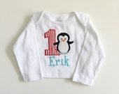 Penguin 1st Birthday Onesie- Red & Aqua- Personalized Baby Boy