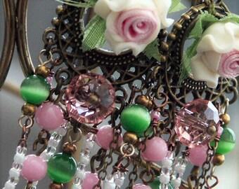 Earrings 'ROSE GARDEN' Porcelain Roses and Rosary Chains, Mori Girl Earrings Victorian roses