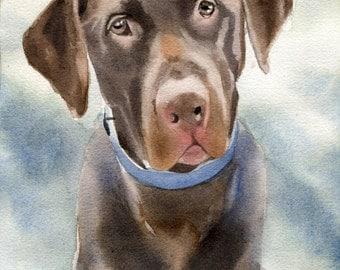 Chocolate Labrador Retriever dog art Print  watercolor painting lab custom hand painted huge large big Giclee brown