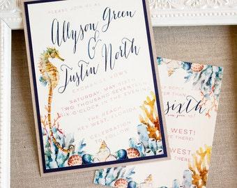 Seahorse Wedding Invitation - destination wedding invitations - watercolor invitation - beach wedding - nautical wedding - island wedding