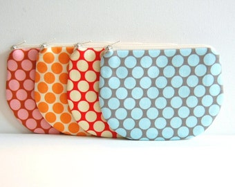 Coin Purse, Small Zipper Pouch, Choice of Colors, Women and Teen, Mini Wallet, Amy Butler, Full Moon Polka Dots