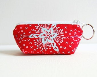 Mini Zipper Pouch with Key Ring, Lip Balm Holder, Change Purse, Triflora in Lipstick, LouLouThi Anna Maria Horner