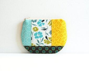 Patchwork Zipper Pouch, Coin Purse, Women's Wallet, Makeup Bag, Cosmetic Case, Denyse Schmidt Meadowlark Fabrics
