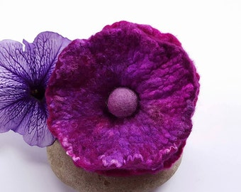 Cerise Felt Flower Brooch Pin