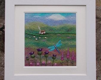 Felt Landscape Picture Dragonfly Cottage