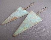 Patina Triangle Earrings, Verdigris Geometric Dangles