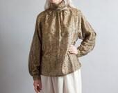katania gold metallic turtleneck blouse / poet sleeve blouse / deadstock top / s / 1154t
