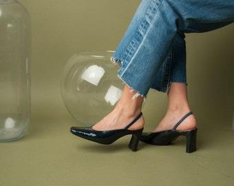 blue croc imprint slingback pumps / classic pumps / patent leather heels / 6.5 M / 767s