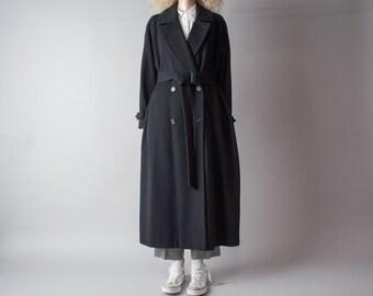 CALVIN KLEIN black wool belted winter coat / overized  overcoat / classic robe coat / m / 515o