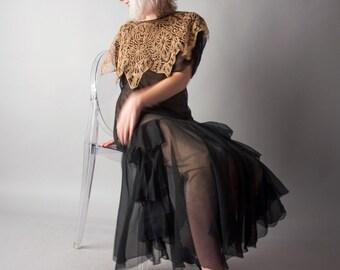 secret garden 1920s black silk and lace dress / sheer dropwaist dress / ruffle skirt dress / s / m / 1685d