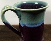 Wheel Thrown Purple and Aqua Mug Stoneware Clay Pottery