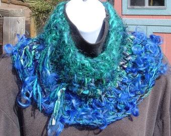 On SALE Peacock Cowl Split Rock Ranch OOAK Hand Crocheted Wool, Mohair, Alpaca
