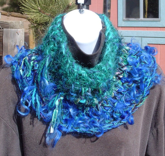 On SALE Peacock Cowl Split Rock Ranch OOAK Hand Crocheted Wool, Mohair, Alpaca