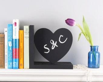 Chalkboard Heart Bookend - home decor - wedding gift - book lovers gift - bookshelf accessory
