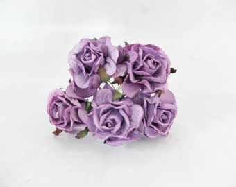 5 40mm purple paper roses with wire stems