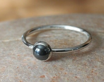 Round Hematite Stacking Ring 6 mm in Sterling Silver, Size 2 to 15,  Solitaire Ring, Womens Ring, Minimal Ring, Gift for Her, Stacker Ring