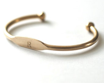 Perfect Gift! Custom Personalized Initial // Name Present // Special Date Brass ID Cuff Bangle Bracelet