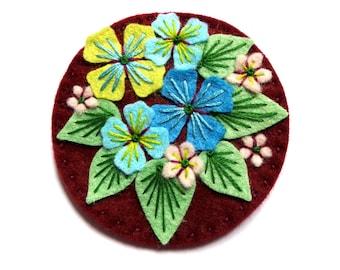 Hydrangea statement felt brooch pin with freeform hand embroidery - scandinavian design - jewellery