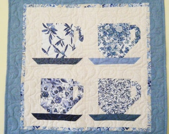 Tea Cup quilted wall hanging  in blues
