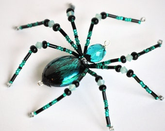 Della - teal and black glass beaded spider goth sun catcher - Halloween decoration - Christmas ornament
