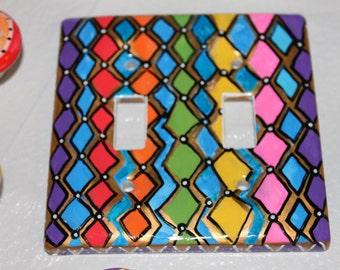 funky DIAMONDS double switch plate functional WALL ART