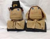 Primtive Thanksgiving Pilgrim Busts ready to ship