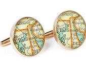 Baltimore Map Cufflinks Solid Golden Bronze Heirloom Cast One Piece Antique Maryland Atlas