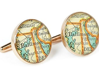 Baltimore Map Cufflinks Solid Golden Bronze Heirloom Cast One Piece Antique Maryland Atlas