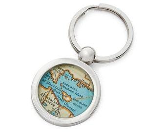 Mackinac Island Keychain Map Key Ring Fob Vintage Michigan Atlas  by sherrytruitt Free Shipping