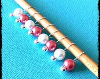 Snag Free Stitch Markers Small Set of 8 - Pink and White Glass Pearls -- K58-- Up to size US 8 (5.0mm) Knitting Needles