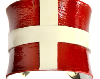 Red and Ivory Patent Leather Cuff Bracelet - by UNEARTHED