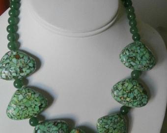 Adventurine And Magnesite Stone Necklace