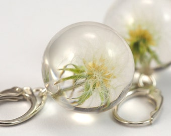 Delicate White Dandelion Earrings, Resin Earrings, resin Jewelry, Sterling Silver earrings