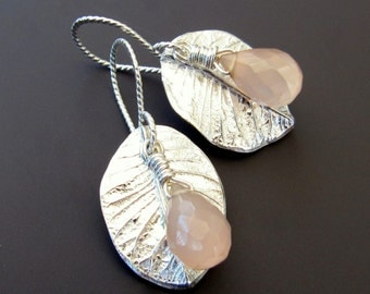 Sterling Silver Leaf Dangle Earrings with Pale Pink Faceted Chalcedony Teardrop Briolettes and Handcrafted Sterling Rope Earwires