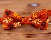 Boys orange bow tie - boys Thanksgiving leaf bowtie, little boy bow tie, preteen bow tie, thanksgiving tie, fall bow tie, baby bow tie, gift