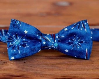 Patriotic Boys Bow Tie - Red White Blue 4th Fourth July Fireworks Cotton Bowtie - Infant Baby Toddler Child Preteen - American boys bow tie