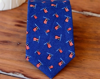 Mens US Flag Necktie - American flag necktie - mens traditional necktie - mens cotton tie - navy blue necktie - patriotic - 4th of July