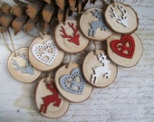 Red, white and grey rustic natural wood slice reindeer Christmas ornaments modern decorations set of 9