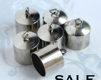 LOW Stock - Silver Plated Tube Charms (12X) (F567) S A L E - 50% off
