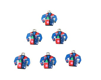 Rhodium Plated Blue Ugly Christmas Sweater Charms (2x) (K313-B)