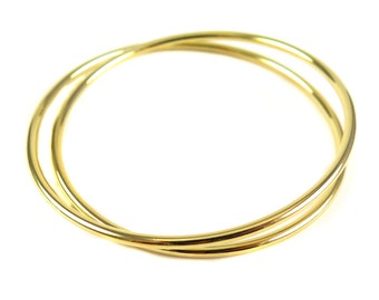 Gold Plated Double Wire Wrapped Bangle Bracelet - (1x) (K703)