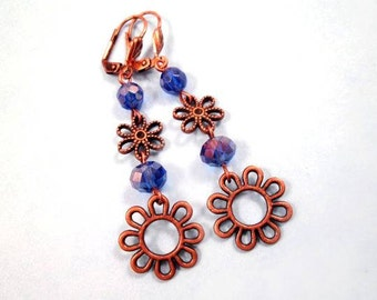 Flower Earrings, Copper Blossoms and Blue, Long Dangle Earrings, FREE Shipping U.S.