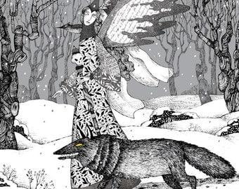 "Enchantress - Fits 16""x 20"" Mat - Limited Edition Giclee Print - Fantasy - Black & White Art - Black Wolf and Black Bird Winter Solstice"