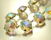 Vintage/ estate 1950s retro kitsch glam, clear aurora borealis rhinestone costume necklace - jewelry jewellery , UK seller