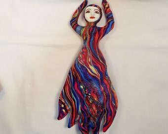 Goddess of FIRE quilted cloth art doll form w/face cab 10 in. tall You finish her Bead Decorate Fantasy