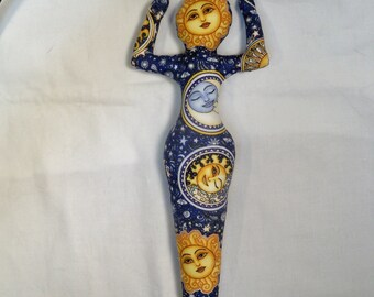 Celestial Dreamer SUN GODDESS cloth art doll form 11 in. tall You finish her Bead, Decorate