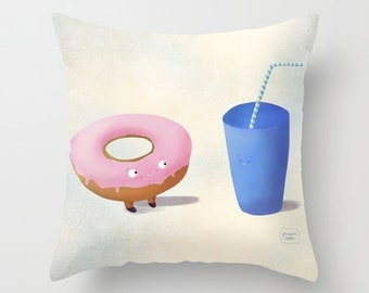 Cute donut - Illustrated throw pillow cover