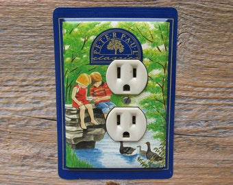 Repurposed Tin Cans Handmade Into Outlet Covers Cover From An Old Almond Joy Candy Tins OLC-1036